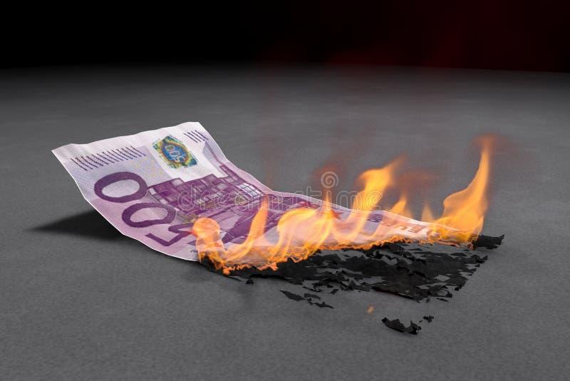 Счет евро 500 горит яркий иллюстрация вектора