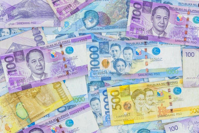 Счет филиппинского песо, валюта денег Филиппин, филиппинская предпосылка счетов денег стоковые фотографии rf