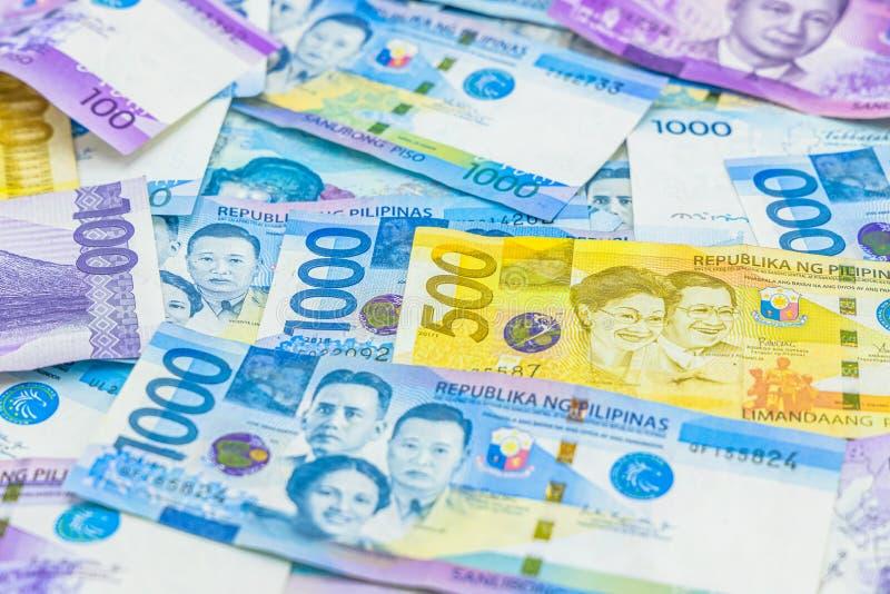 Счет филиппинского песо, валюта денег Филиппин, филиппинская предпосылка счетов денег стоковое изображение rf