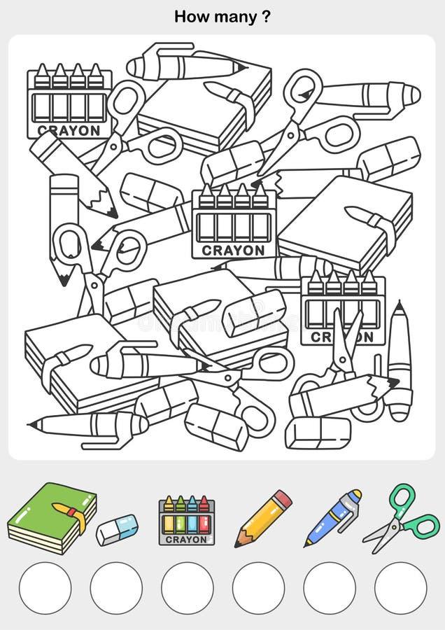 Считая и крася цвет объекты напишите номер в коробке круга бесплатная иллюстрация