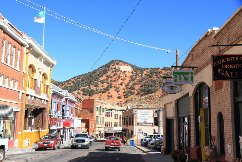 США, Аризона/Bisbee: Историческое Bisbee - главная улица стоковые фото