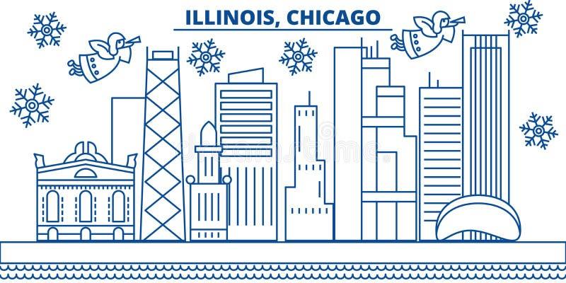 США, горизонт города зимы Иллинойса, Чикаго С Рождеством Христовым и счастливый Новый Год украсил знамя Поздравительная открытка  иллюстрация вектора