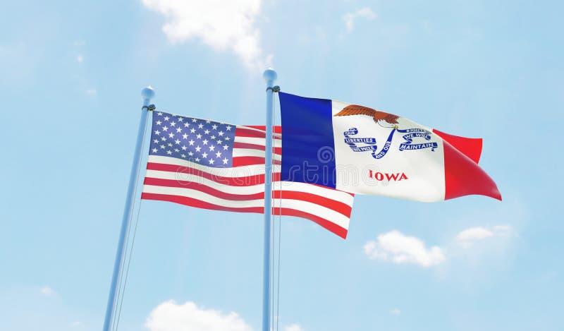 США и государство Айова, 2 флага развевая против голубого неба иллюстрация штока