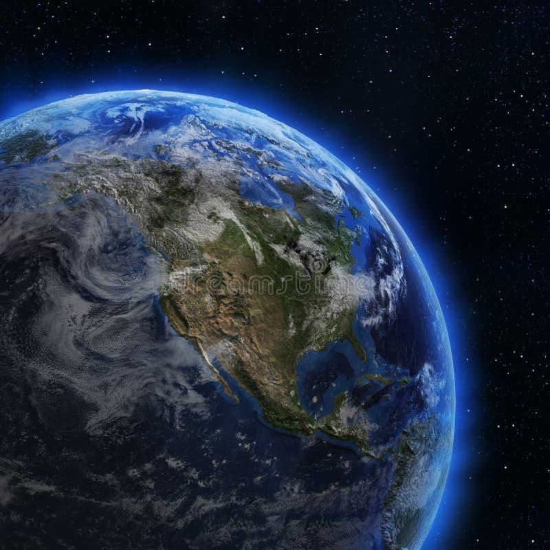 США и Канада от космоса иллюстрация вектора