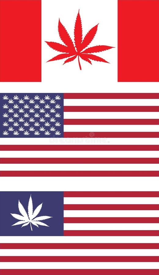 США и Канада узаконивают флаги иллюстрация вектора