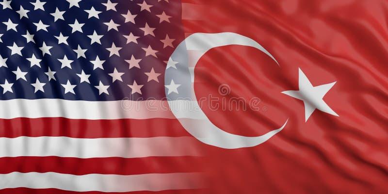 США и предпосылка флага Турции развевая иллюстрация 3d иллюстрация штока