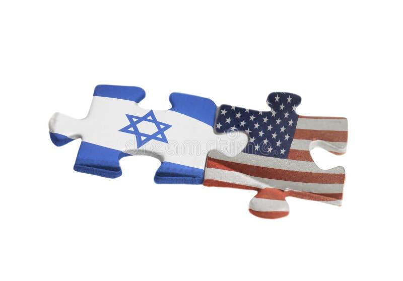 США и флаги Израиля на частях головоломки Политическое отношение между концепцией правительств стоковая фотография rf