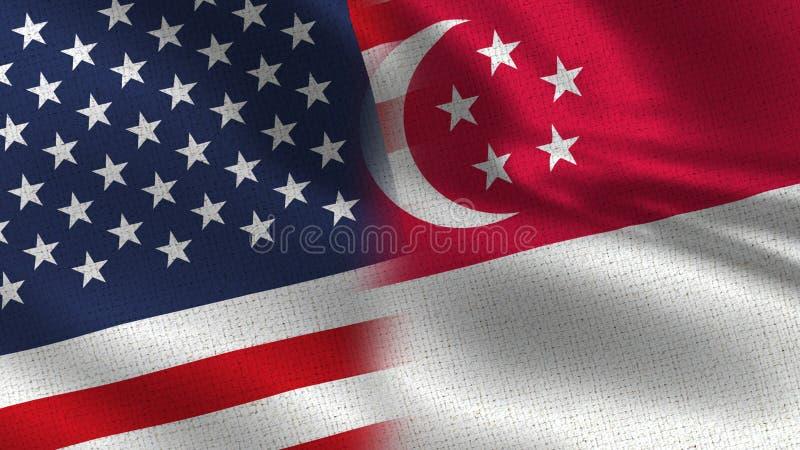 США и флаги половины Сингапура реалистические совместно стоковое изображение