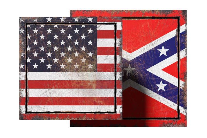 США и confederated флаги иллюстрация вектора