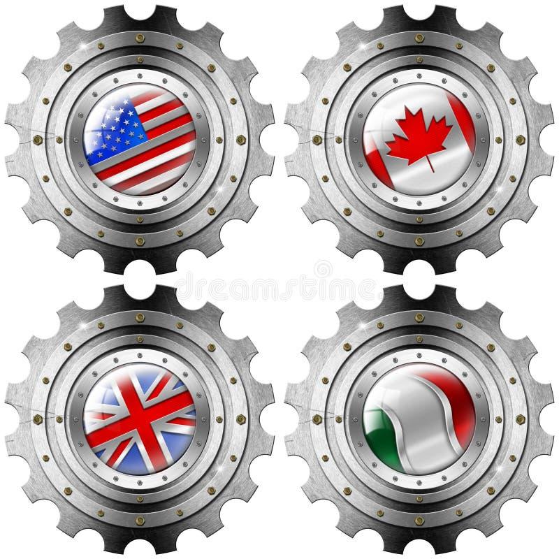 США Канада Великобритания Италия зацепляют флаги металла бесплатная иллюстрация