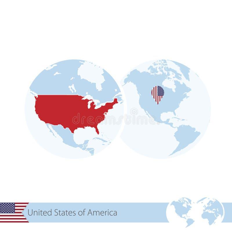 США на глобусе мира с флагом и региональной картой США бесплатная иллюстрация