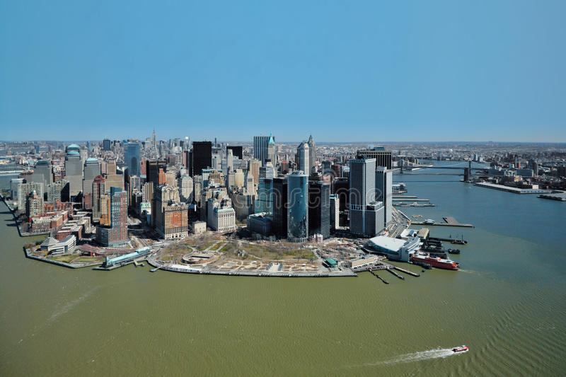 29 03 2007, США, Нью-Йорк: Взгляды Манхаттана от helicopte стоковые фотографии rf