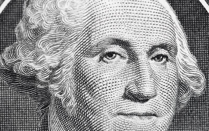 США одно 1 долларовая банкнота в съемке макроса, супер макрос, конец вверх по фото Малая глубина влияния поля Георге Шасюингтон стоковая фотография rf