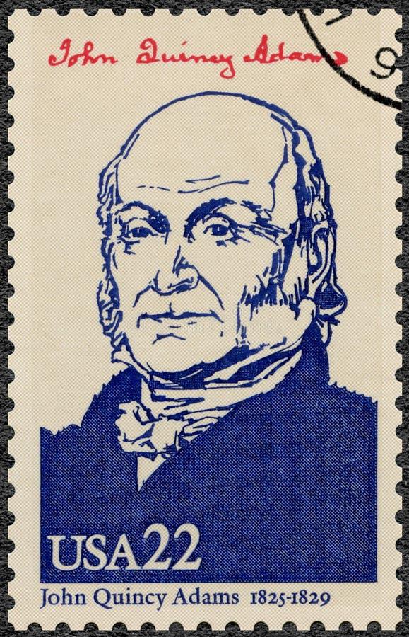 США - 1986: показывает портрету Джон Куинси Адамс 1767-1848, шестой президент США, президенты серии США стоковая фотография