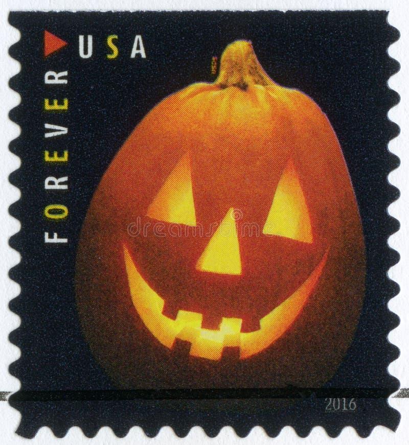 США - 2016: посвященный хеллоуин, фонарики ` Джека o, фонарик тыквы стоковые изображения