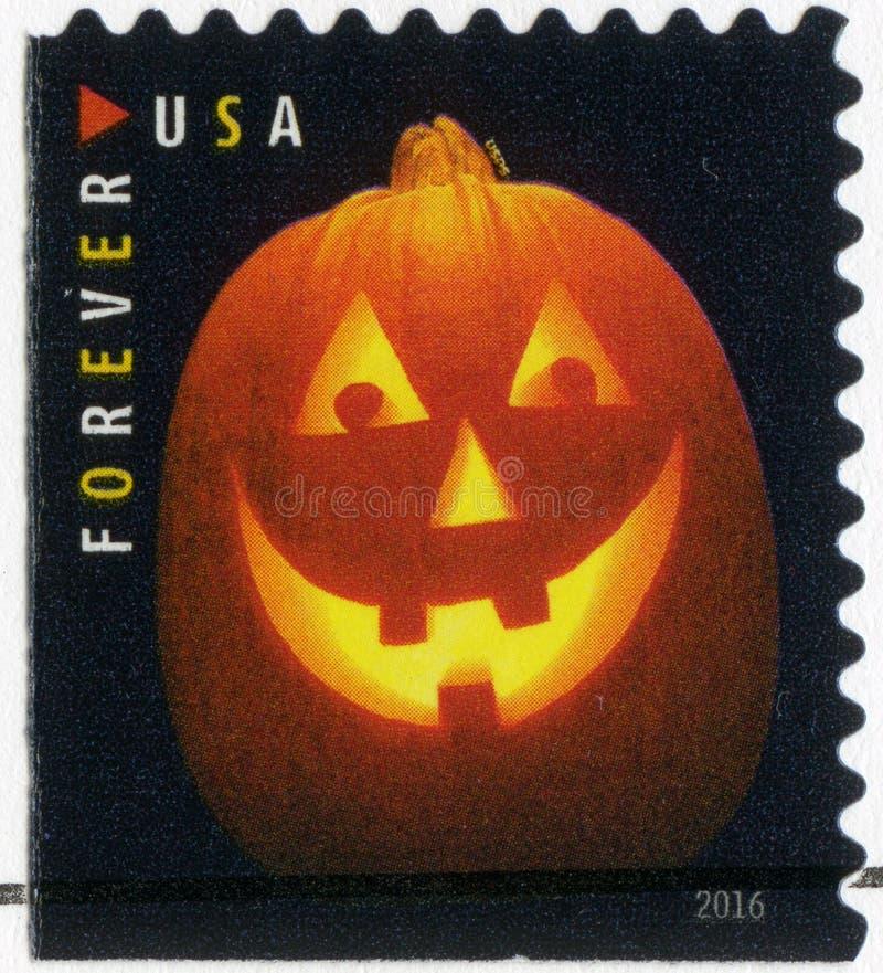 США - 2016: посвященный хеллоуин, фонарики ` Джека o, фонарик тыквы стоковое фото