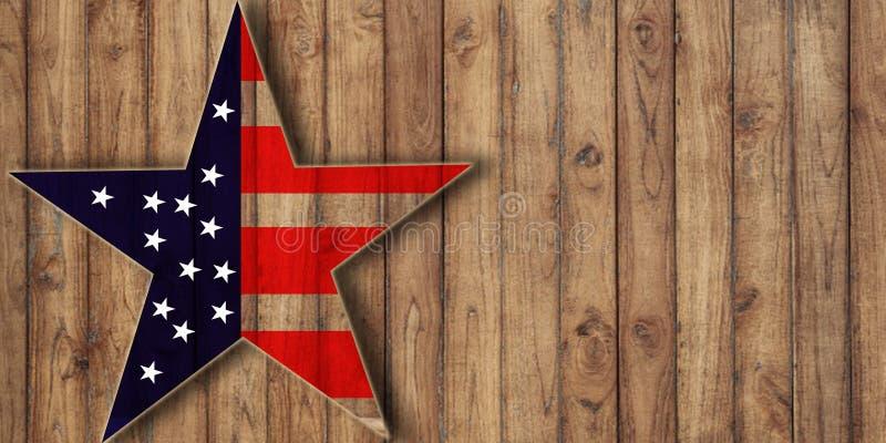 США сигнализируют в форме звезды на древесине, предпосылке с космосом экземпляра стоковое фото rf