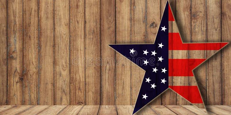США сигнализируют в форме звезды на древесине, предпосылке с космосом экземпляра стоковые фото