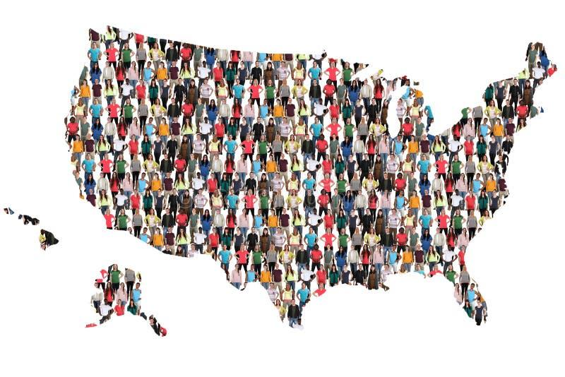 США Соединенные Штаты составляют карту многокультурная интеграция группы людей стоковые фотографии rf