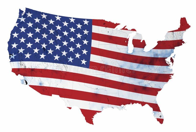 США с государственными границами и предпосылкой государственного флага США иллюстрация штока