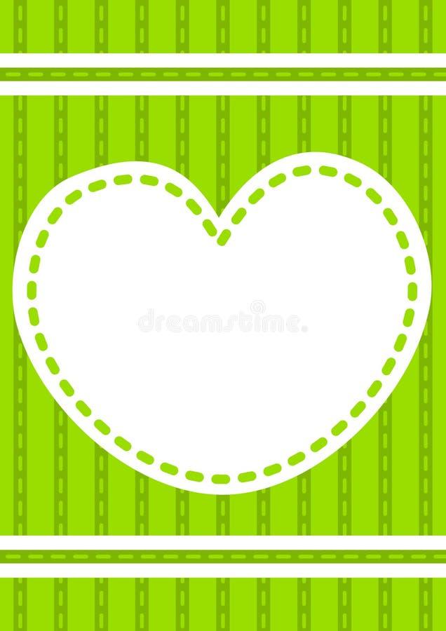 сшитое приглашение сердца карточки иллюстрация штока