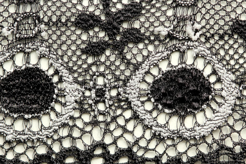 Съемка макроса текстуры черно-белого шнурка цветков материальная стоковое фото rf