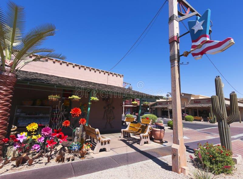 Съемка старых бутиков городка, Scottsdale, Аризона стоковое изображение
