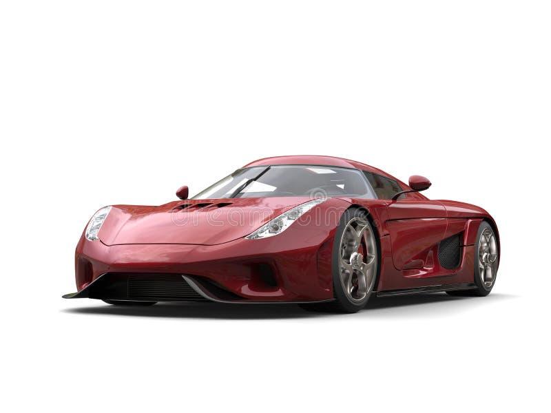 Съемка студии металлической красной современной супер гонки автомобильная иллюстрация вектора