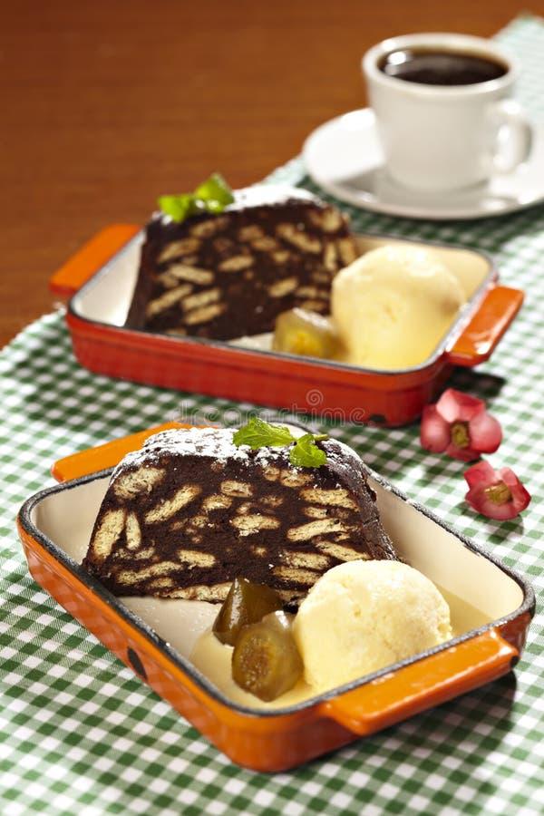 Торт и мороженное стоковая фотография