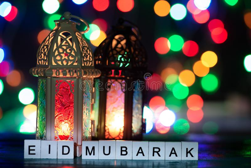 Съемка установки студии освещенного фонарика - показывающ торжество mubarak eid схематическое стоковая фотография rf