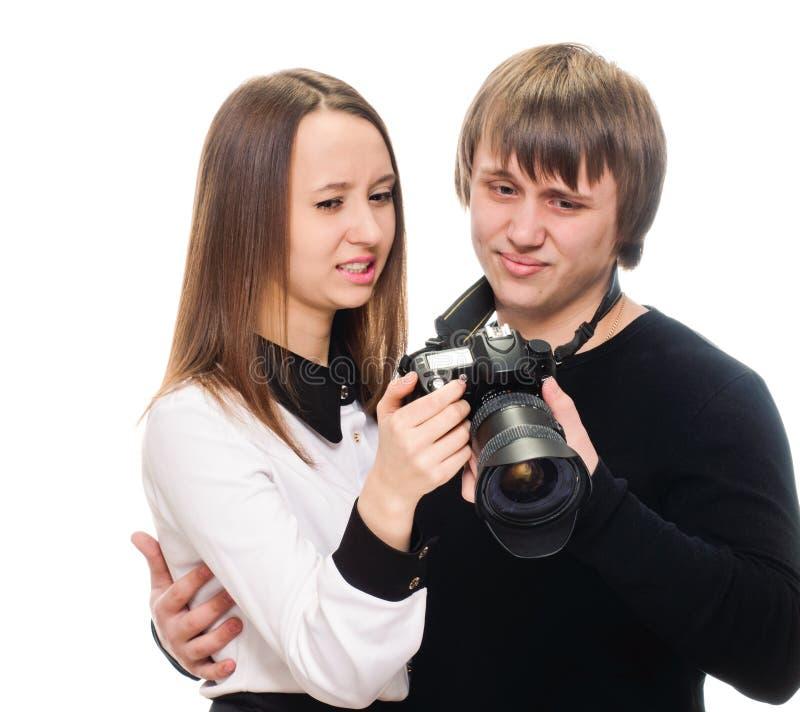 Съемка фото пар рассматривая плохая стоковое изображение rf