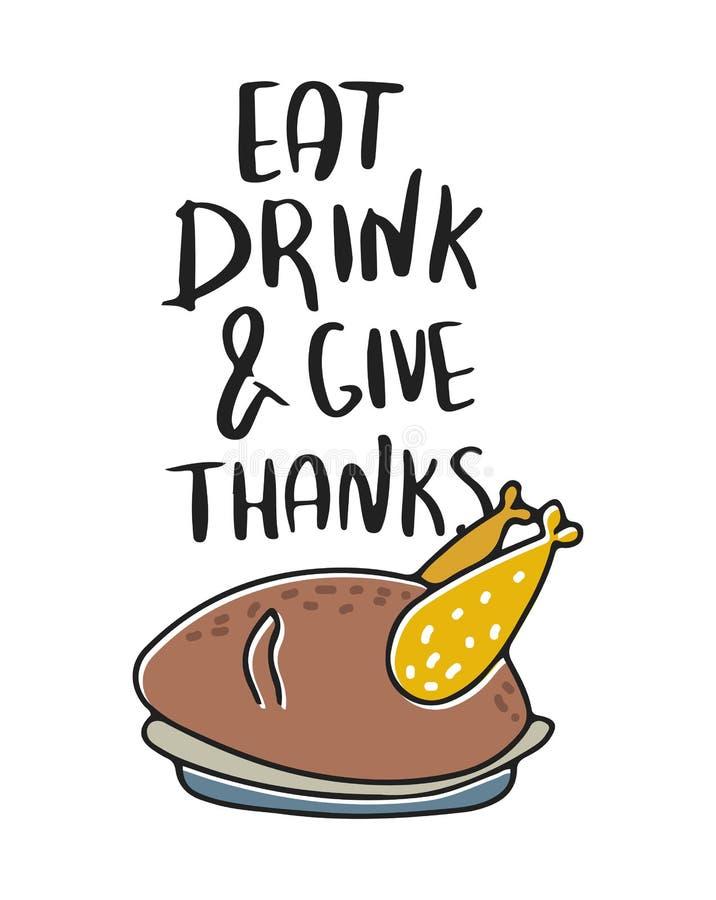 Съешьте, выпейте и дайте спасибо Нарисованная рукой иллюстрация вектора Плакат цвета осени Хороший для резервирования утиля, плак стоковые изображения rf