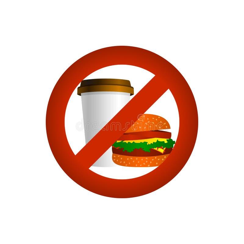 Съешьте и выпейте запрет, знак вектора иллюстрация штока
