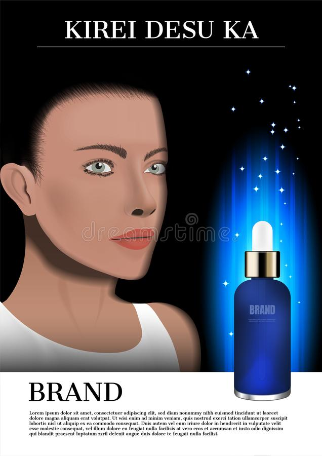 Сыворотка стороны и сини дамы с накаляя светом, косметическим объявлением стоковое изображение