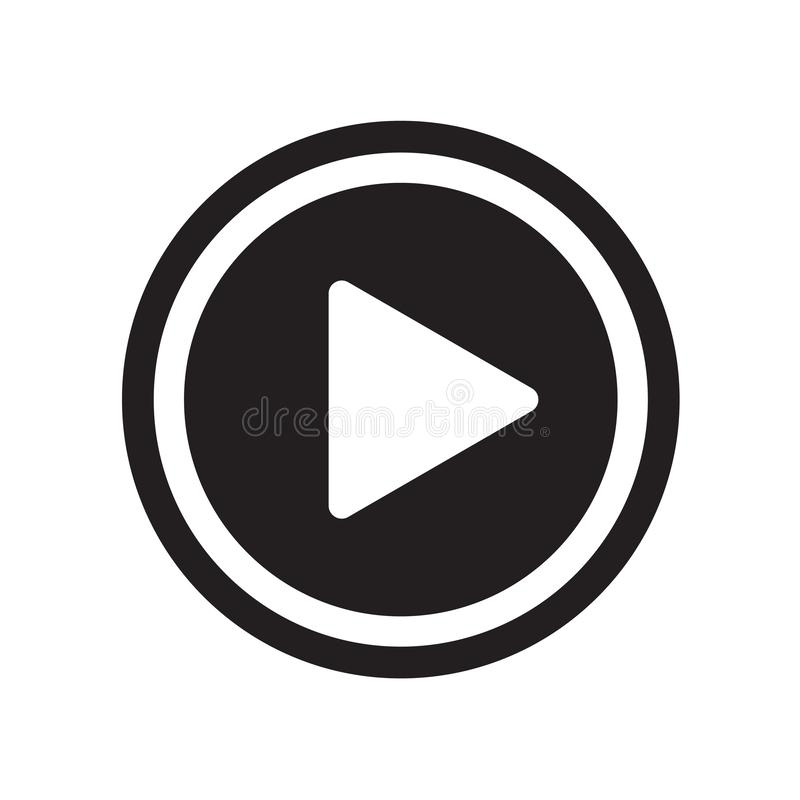 Сыграйте вектор значка кнопки изолированный на белой предпосылке, butto игры иллюстрация вектора