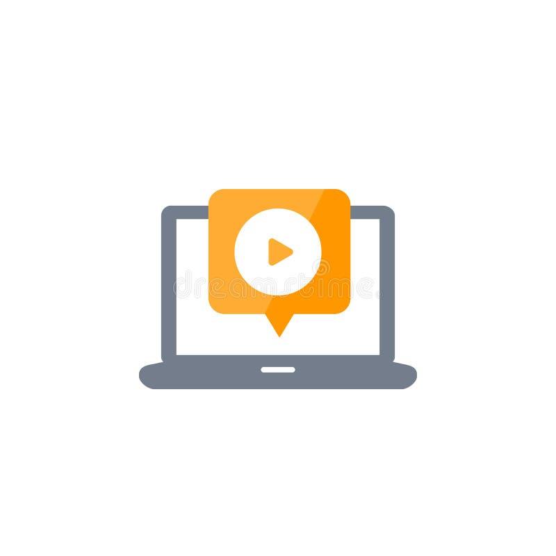 Сыграйте видео, игрока на значке вектора экрана ноутбука иллюстрация штока