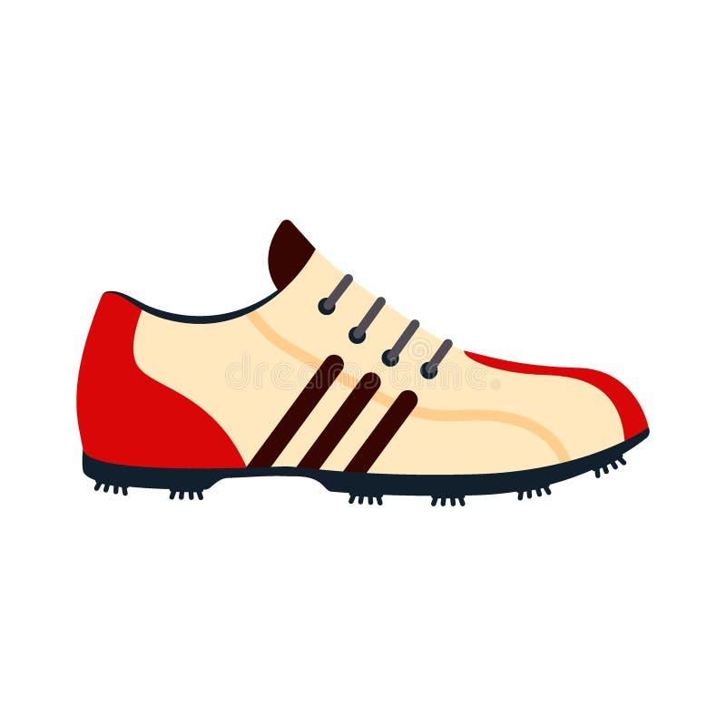 Сыграйте в гольф значок ботинок изолированный на белой предпосылке, плоском элементе для играть в гольф, оборудовании гольфа - ve иллюстрация вектора