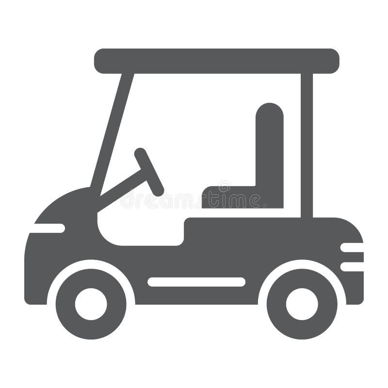 Сыграйте в гольф значок глифа автомобиля, автомобиль и спорт, знак тележки, векторные графики, твердую картину на белой предпосыл иллюстрация вектора