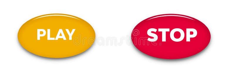 Сыграйте и остановите кнопки слова изолированные на белой предпосылке Значки знака сети вектора иллюстрация вектора