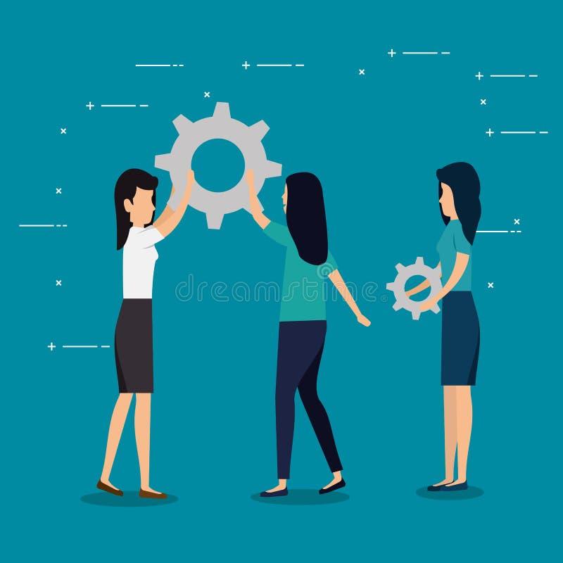 Сыгранность дела женщин с индустрией шестерней иллюстрация вектора