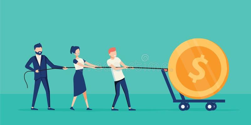 Сыгранность дела совместно вытягивая веревочку для получать выгоду Работа сотрудничества с руководителем Концепция Coworking бесплатная иллюстрация
