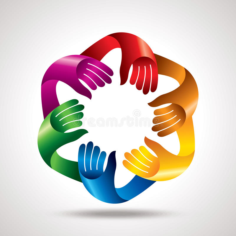 Сыгранность деловой встречи, с руками иллюстрация штока