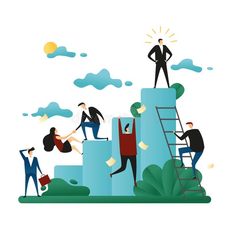 Сыгранность кооператива офиса Подъем людей к корпоративной лестнице Концепция роста карьеры Вектор Illustrat концепции дела иллюстрация вектора