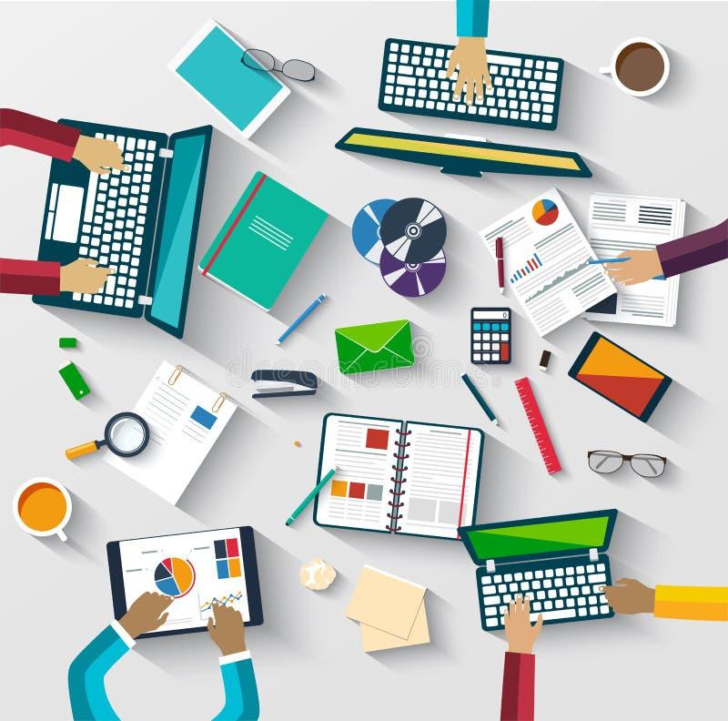 Сыгранность на таблице, стратегия бизнеса, статистика иллюстрация вектора