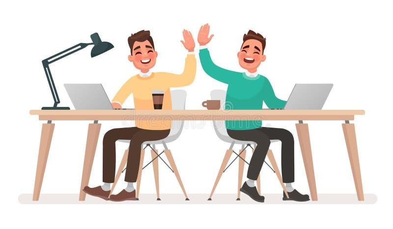 Сыгранность Работники офиса дают 5 друг к другу против как крюка hang долларов принципиальной схемы приманки предпосылки серого иллюстрация вектора