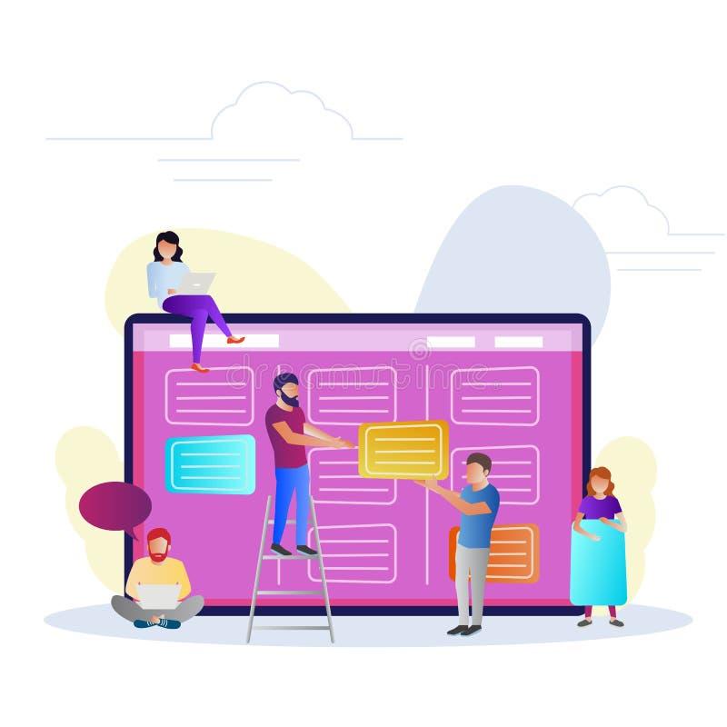 Сыгранность, сообщение, взаимодействие, бизнес-процесс, проворная концепция руководства проектом иллюстрация вектора