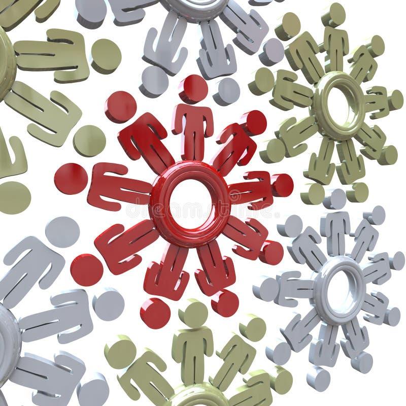 сыгранность успеха людей шестерен совместно работает иллюстрация вектора