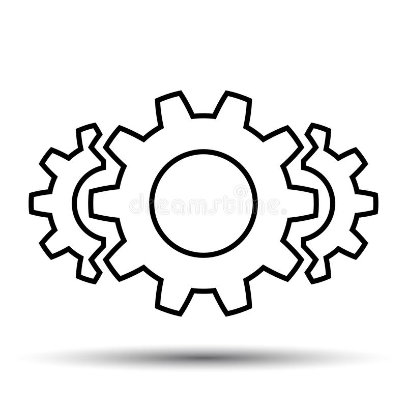 Сыгранность, штат, партнерство, механизм значка шестерни, одна линия - вектор иллюстрация штока