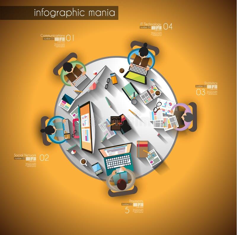 Сыгранность Infographic и brainsotrming с плоским стилем иллюстрация вектора