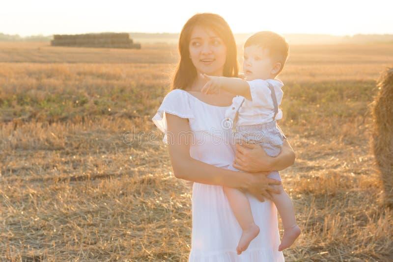 сынок мати Стог или связка сена на желтом поле стоковые фото